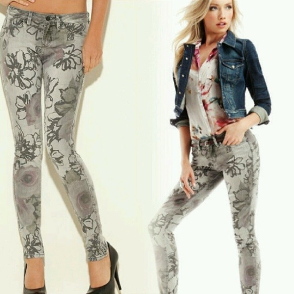 Guess Jeans Guess Gray Floral Printed Brittney Skinny Jeans Poshmark